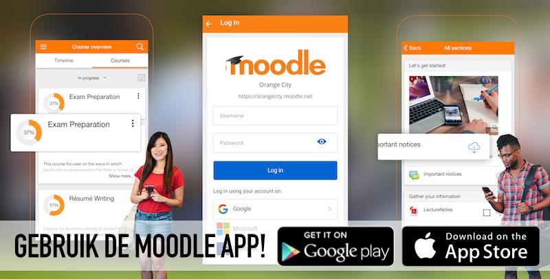 Gebruik de Moodle app!